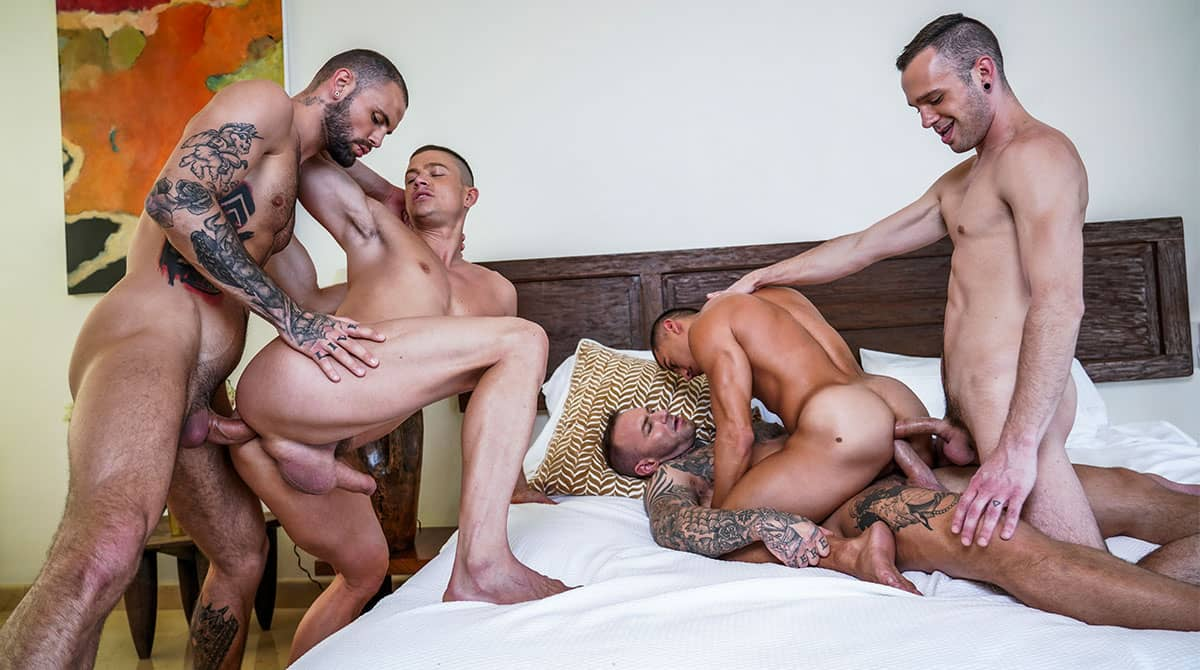 Dylan James, Jeffrey Lloyd, Drake Rogers, And Ruslan Angelo's Bareback Foursome
